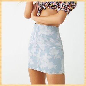 New Forever21 Rose Denim Mini Skirt